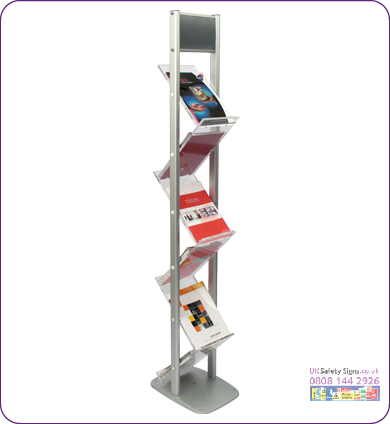 Zig-Zag brochure stand 6 x A4 header 218 x 165 mm no graphics sign
