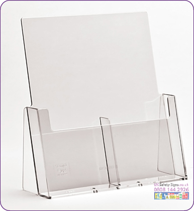 Leaflet dispensers x 2 1/3 A4 no graphics sign