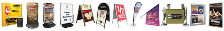 UK  exhibition stands, office displays, street signs, poster frames, wall displays, flags.