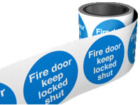 Fire door keep locked shut. 100 x 100mm self adhesive labels on roll of 100 labels. sign.