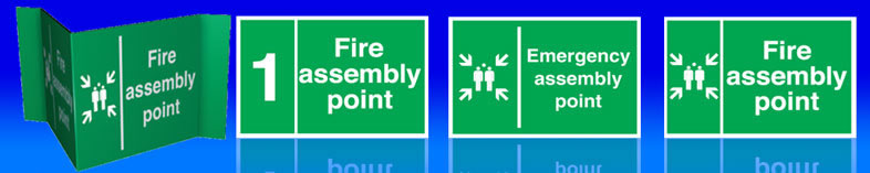 UK fire assembly  signs for fire assemby points.