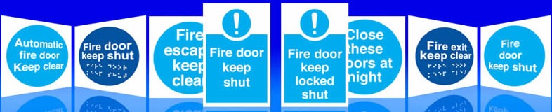UK automatic fire door signs, labels and stickers