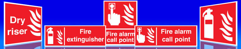 UK fire extinguisher signs, fire reel labels and fire alarm stickers