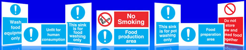 UK kitchen, hygiene, food signs, kitchen machinery labels and stickers