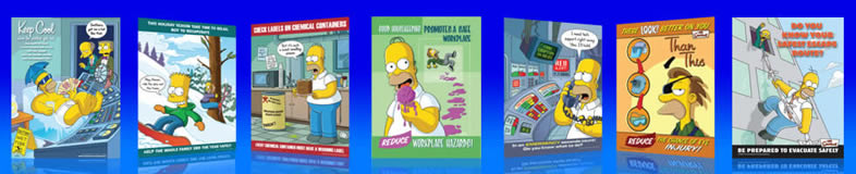UK safety posters by the Simpsons