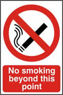 No smoking beyond this point - 1mm rigid pvc 200 x 300mm sign