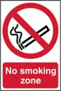 No smoking zone - 1mm rigid pvc 200 x 300mm sign