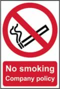No smoking Company policy - 1mm rigid pvc 200 x 300mm sign