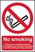 No smoking These are no smoking premises� - 1mm rigid pvc 200 x 300mm sign