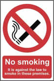 No smoking It is against the law to smoke on these premises - 1mm rigid pvc 200 x 300mm sign