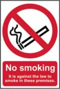 No smoking It is against the law to smoke on these premises - CLG 148 x 210mm sign
