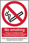 No smoking This is a no smoking vehicle� - CLG 100 x 150mm sign