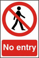 No entry - 1mm rigid pvc 200 x 300mm sign