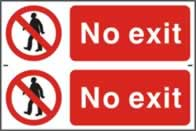 No exit - 1mm rigid pvc 300 x 200 mm sign