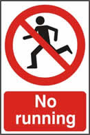 No running - 1mm rigid pvc 200 x 300mm sign