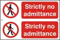 Strictly no admittance - 1mm rigid pvc 300 x 200 mm sign