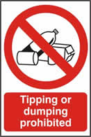 Tipping or dumping prohibited - 1mm rigid pvc 200 x 300mm sign