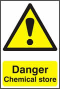 Danger Chemical store - 1mm rigid pvc 200 x 300mm sign
