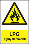 LPG Highly flammable - 1mm rigid pvc 200 x 300mm sign