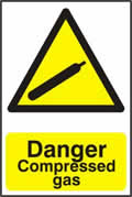 Danger Compressed gas - 1mm rigid pvc 200 x 300mm sign