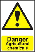 Danger Agricultural chemicals - 1mm rigid pvc 200 x 300mm sign