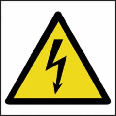 Hazard Warning Electrical Symbol - s/a vinyl - 100 x 100mm sign