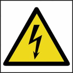 Hazard Warning Electrical Symbol - s/a vinyl - 200 x 200mm sign