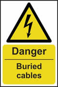 Danger Buried cables - s/a vinyl - 200 x 300mm sign