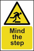 Mind the step - s/a vinyl - 200 x 300mm sign