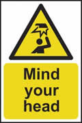 Mind your head - s/a vinyl - 200 x 300mm sign