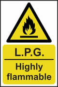 LPG Highly flammable - s/a vinyl - 200 x 300mm sign