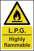 LPG Highly flammable - rigid plastic sign - 200 x 300mm sign