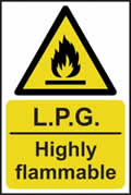 LPG Highly flammable - rigid plastic sign - 400 x 600mm sign