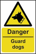 Danger Guard dogs - rigid plastic sign - 200 x 300mm sign