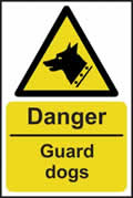 Danger Guard dogs - rigid plastic sign - 400 x 600mm sign