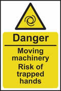 Danger Moving machinery risk of trapped hands - s/a vinyl - 200 x 300mm sign