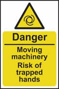 Danger Moving machinery risk of trapped hands - rigid plastic sign - 200 x 300mm sign