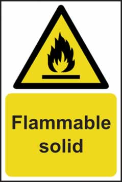 Flammable solid - rigid plastic sign - 200 x 300mm sign