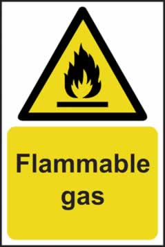 Flammable gas - rigid plastic sign - 200 x 300mm sign