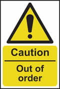 Caution Out of order - s/a vinyl - 200 x 300mm sign