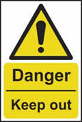 Danger Keep out - rigid plastic sign - 400 x 600mm sign