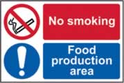 No smoking / Food production area - s/a vinyl - 150 x 100mm sign