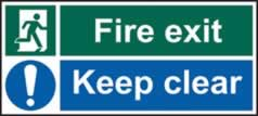 Fire exit Keep clear - rigid plastic sign - 600 x 200mm sign
