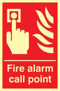 Fire alarm call point - Photoluminescent 200 x 300mm made from Photoluminescent sign