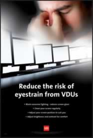 RoSPA Safety Poster - Reduce the risk of eyestrain from VDU s Laminated Laminated Poster sign