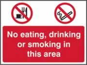 No eating No Drinking No Smoking - s/a vinyl - 600 x 450mm sign