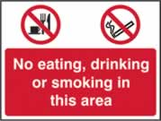 No eating No Drinking No Smoking - rigid 1mm rigid plastic - 600 x 450mm sign