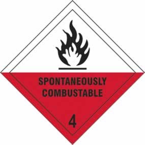 Spontaneously Combustable 4 - s/a vinyl - Diamond 100 x 100mm sign