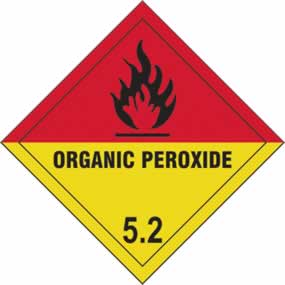 Organic Peroxide 5.2 - s/a vinyl - Diamond 100 x 100mm sign