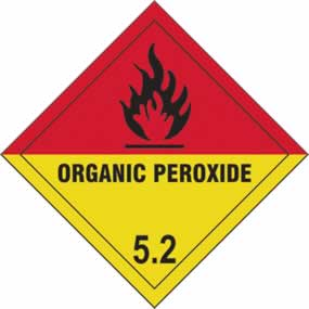 Organic Peroxide 5.2 - s/a vinyl - Diamond 200 x 200mm sign